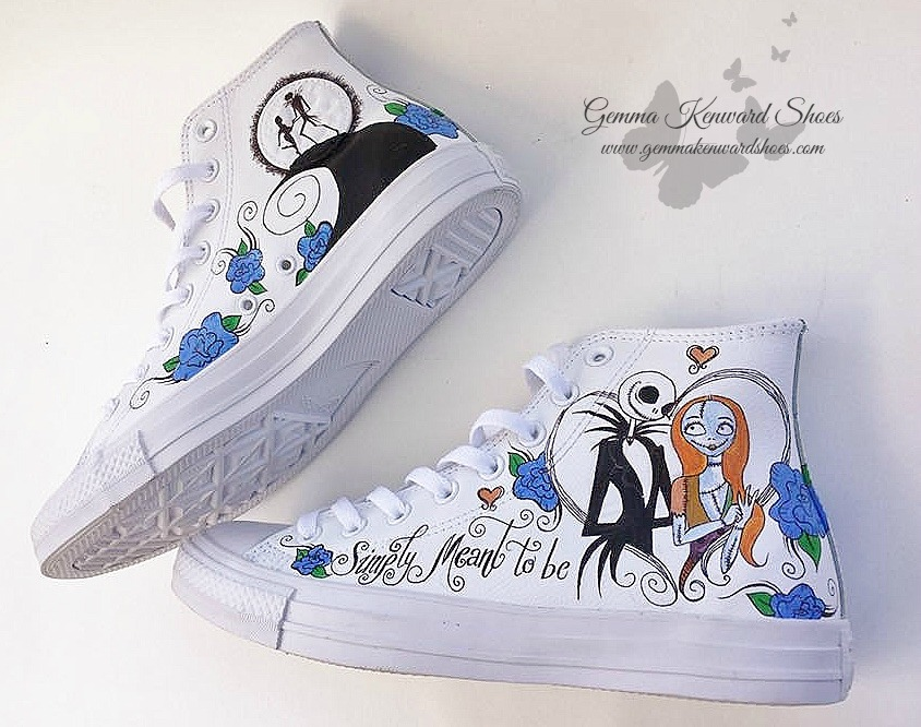 Custom painted wedding hi top Converse personalised with 'Simply Meant To Be Quote'.