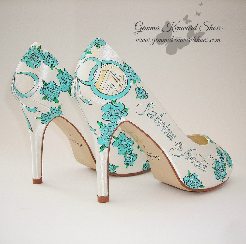 Tiffany Blue Hand Painted Wedding Brides Shoes.JPG