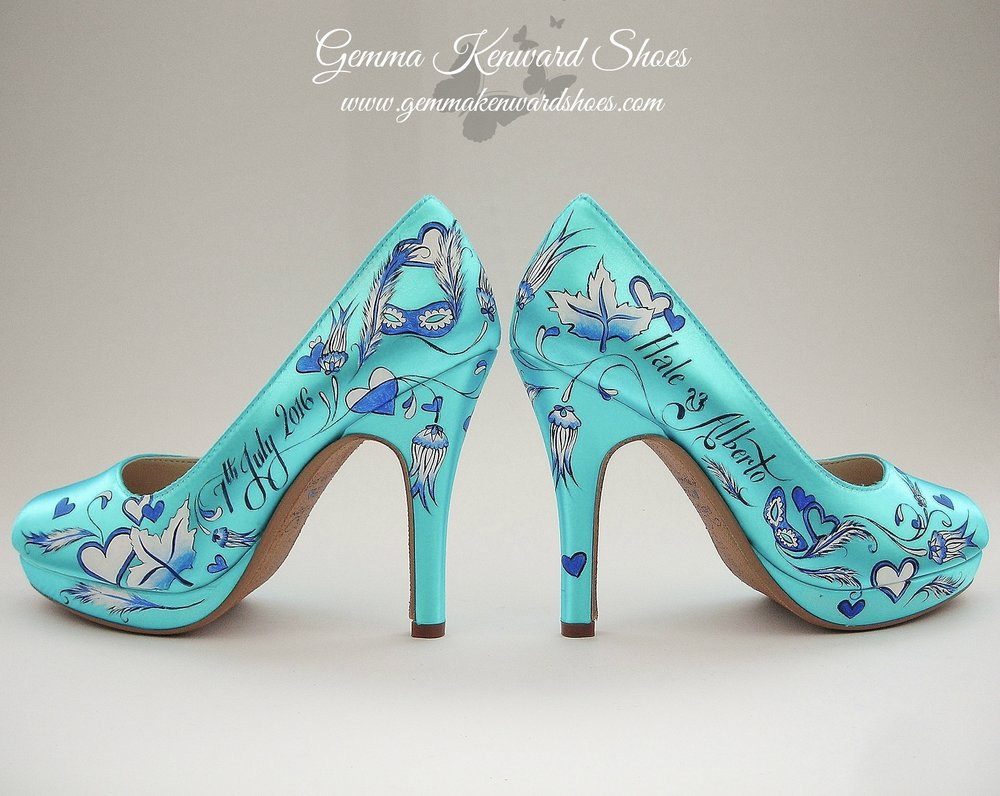 Customised wedding shoes painted with blue flowers, hearts, leaves and flowers
