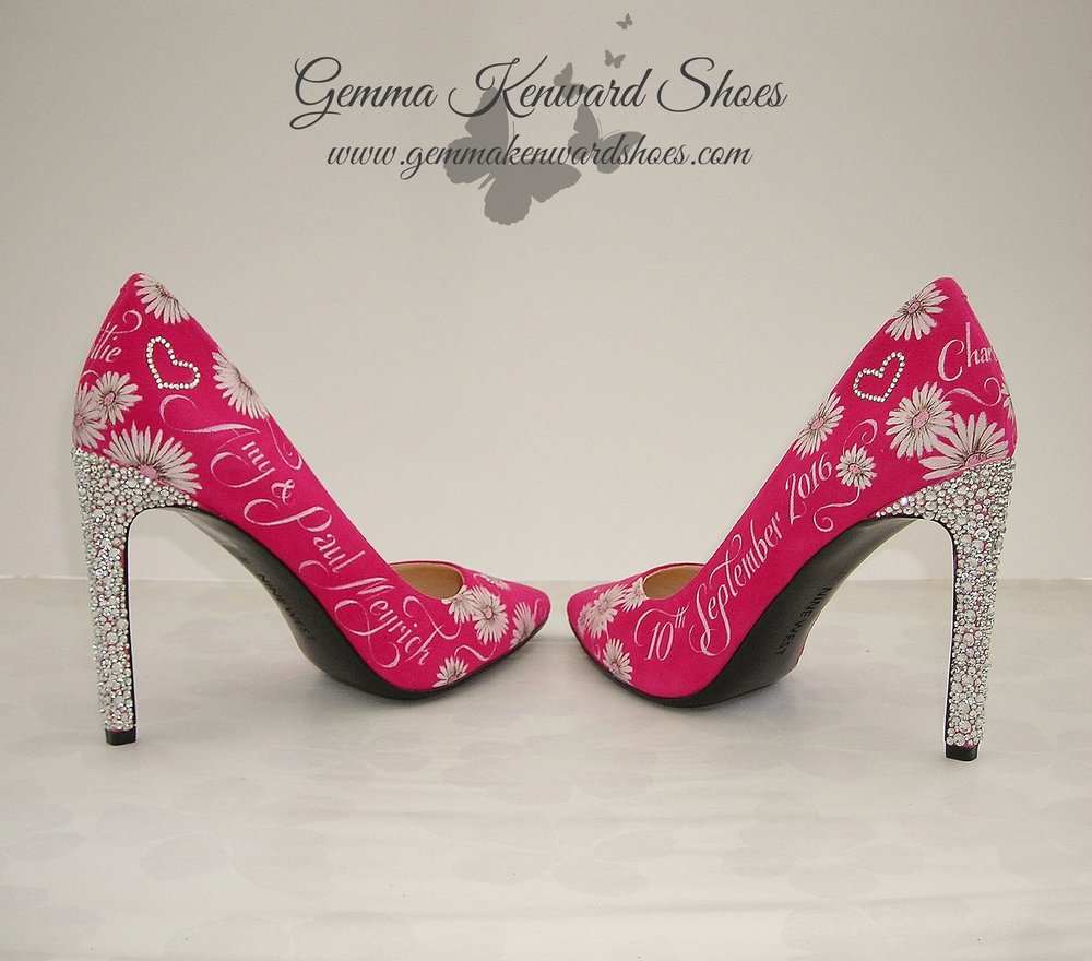 Pink hand painted wedding shoes with diamantes