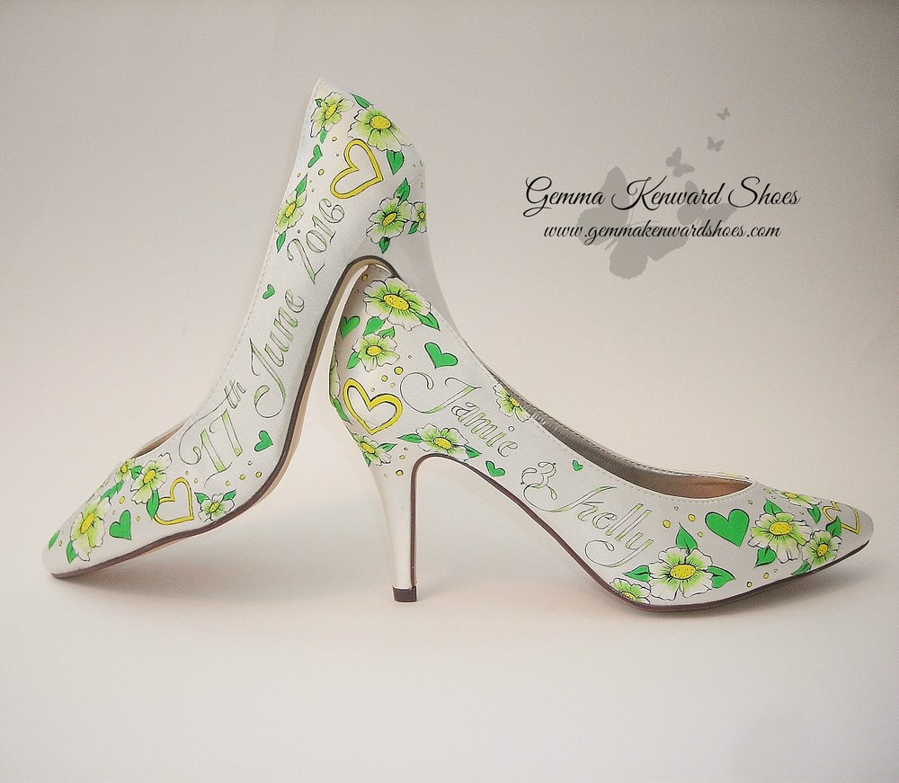 Green flowers and hearts hand painted wedding shoes