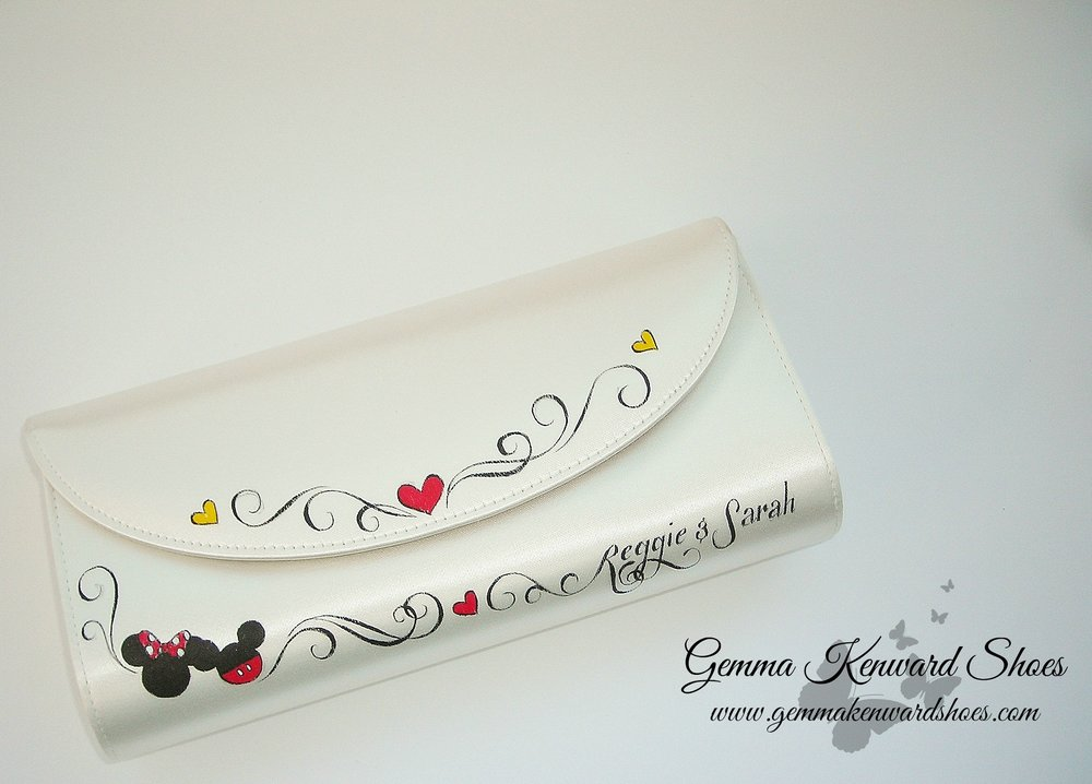 Hand painted Mickey and Minnie Mouse wedding clutch bag