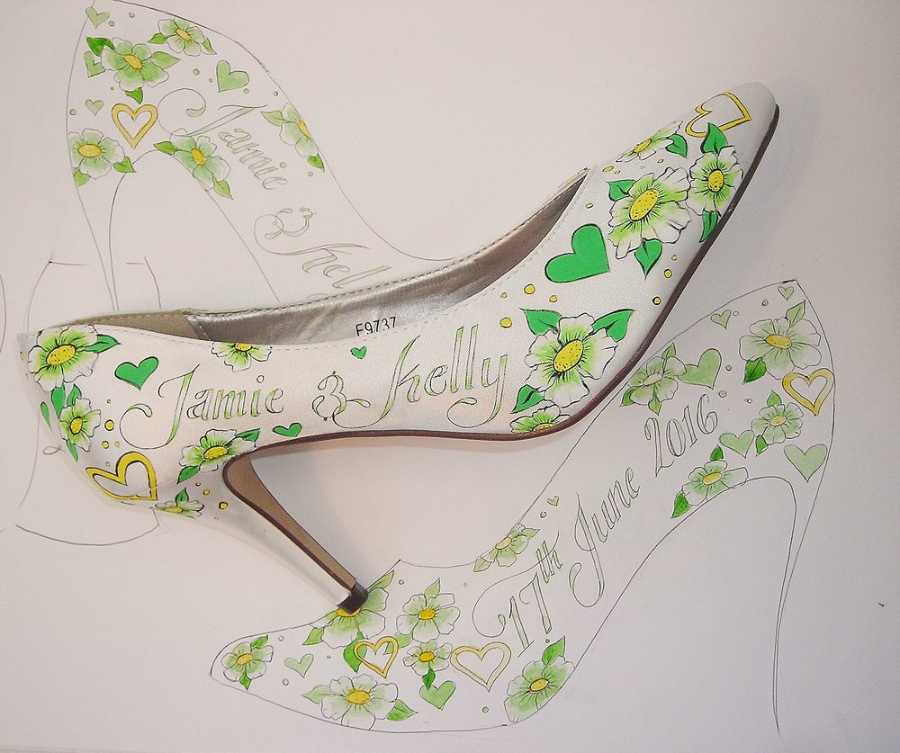 a8b0df953 Green and lemon yellow wedding shoes hand painted with flowers and hearts