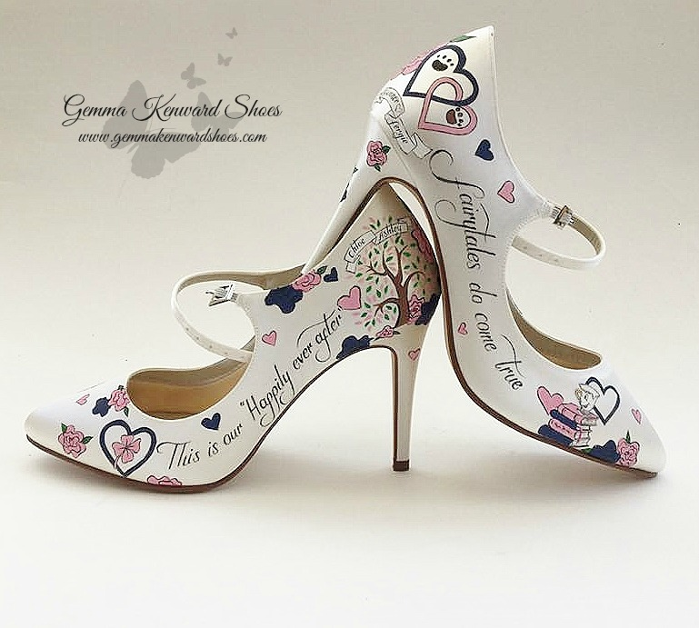 Personalised Mary Jane Wedding Shoes with dog paw prints, clovers and books as well as Chip from the Disney film Beauty and the Beast.