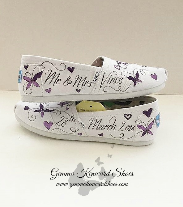 Purple butterfly hand painted wedding Toms