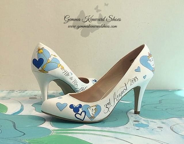 Hand painted beauty and the beast wedding shoes in blue.jpg