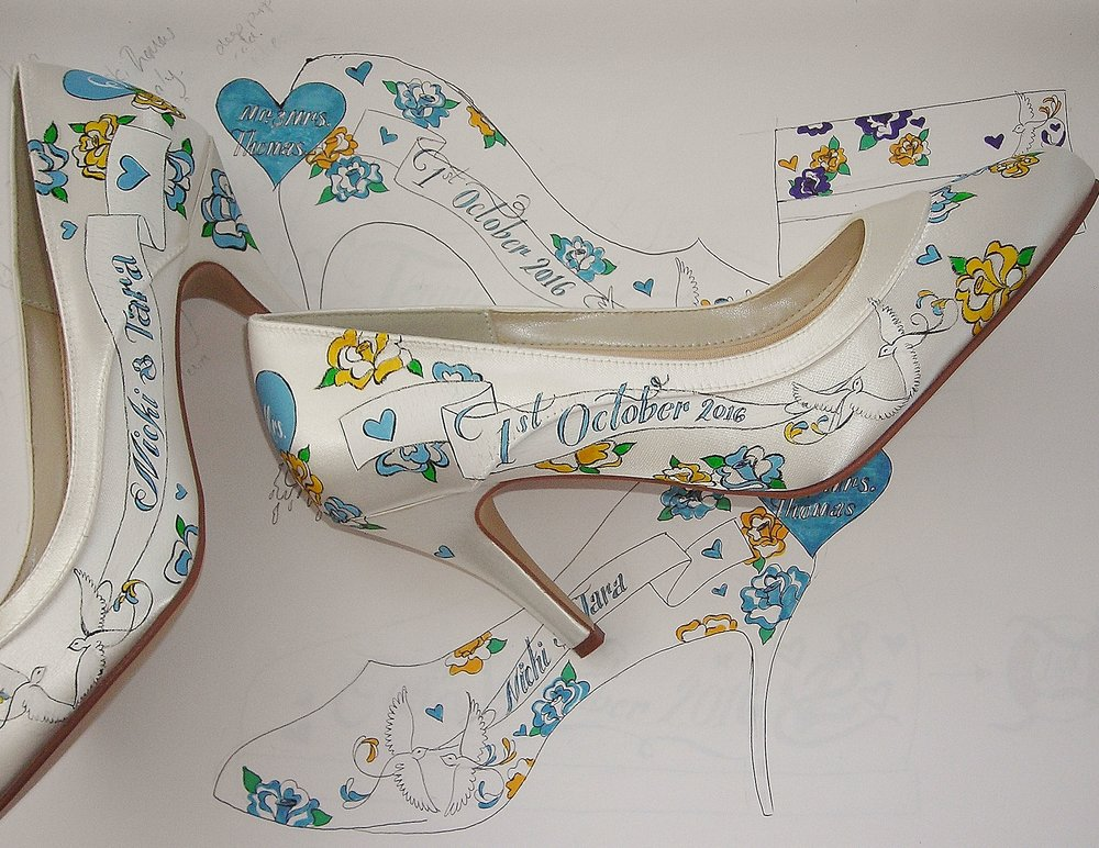 Hand Custom painted wedding shoe sin teal .JPG