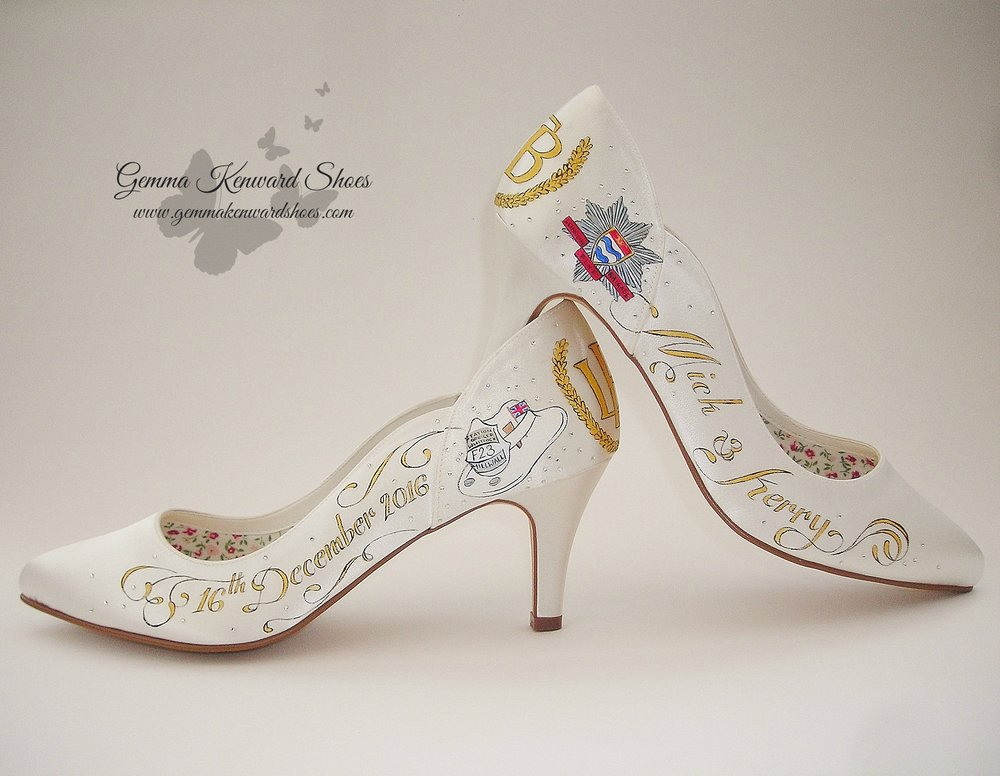 Hand painted firemens wedding shoes.JPG