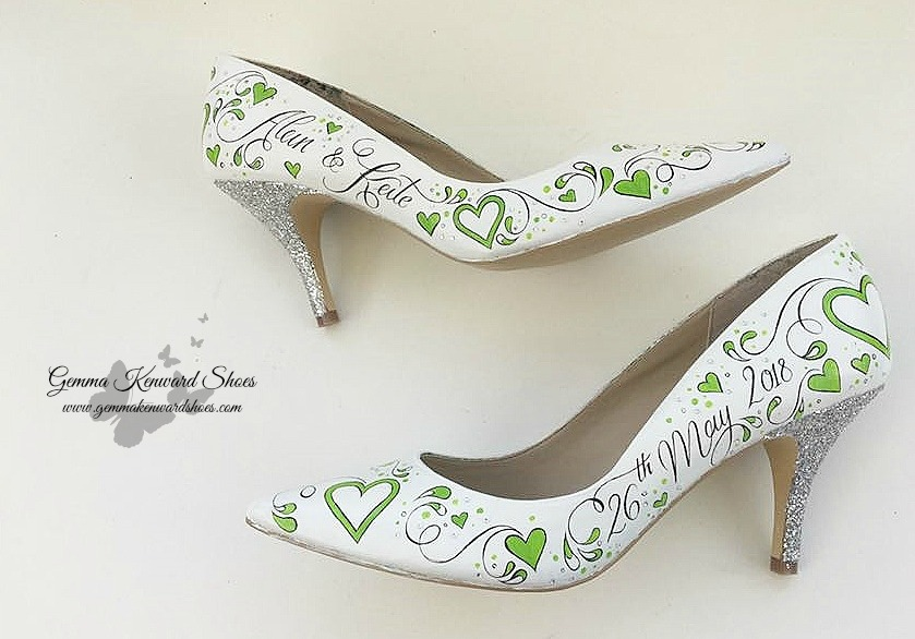 Hand painted lime green flower brides shoes wedding .jpg