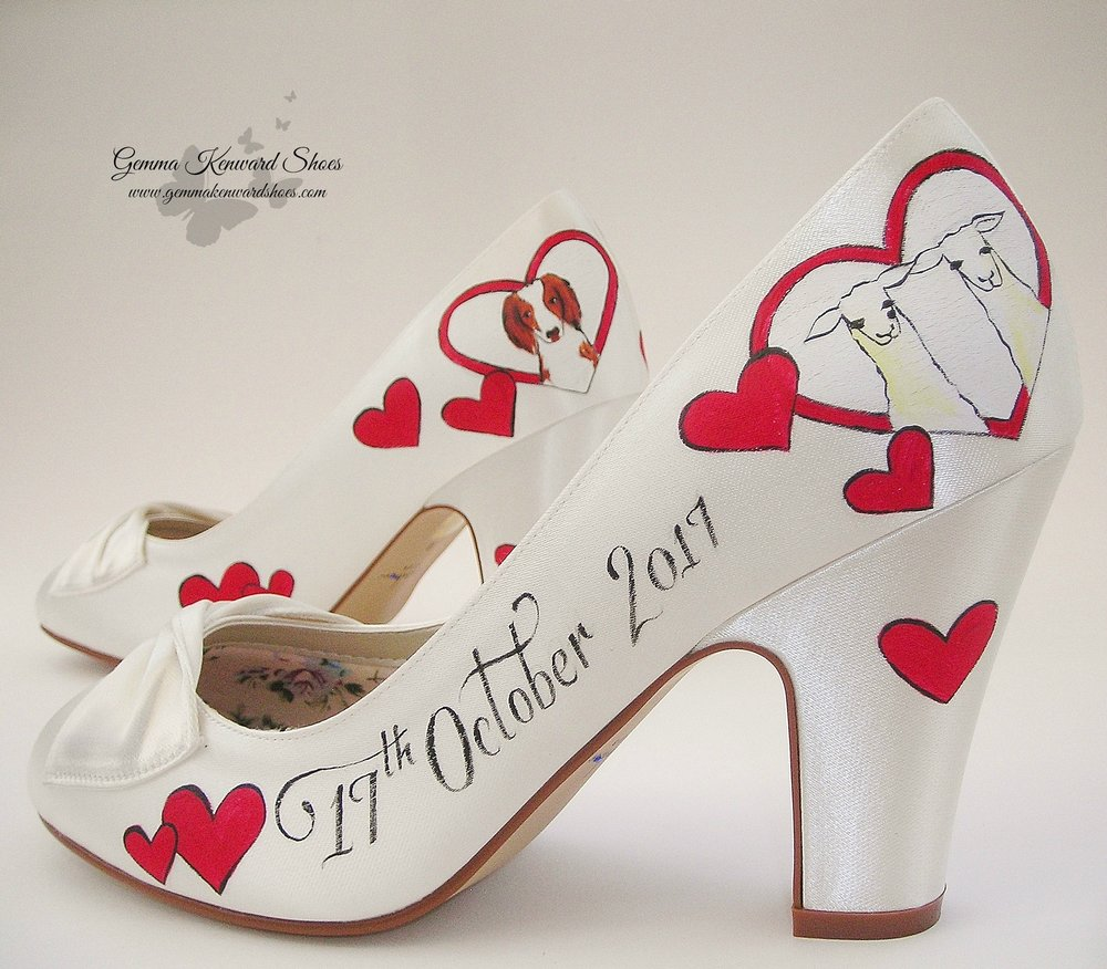 Hand painted llama and dog wedding shoes.JPG