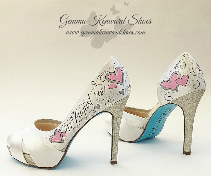 Hand painted pink heart wedding shoes with blue soles.jpg