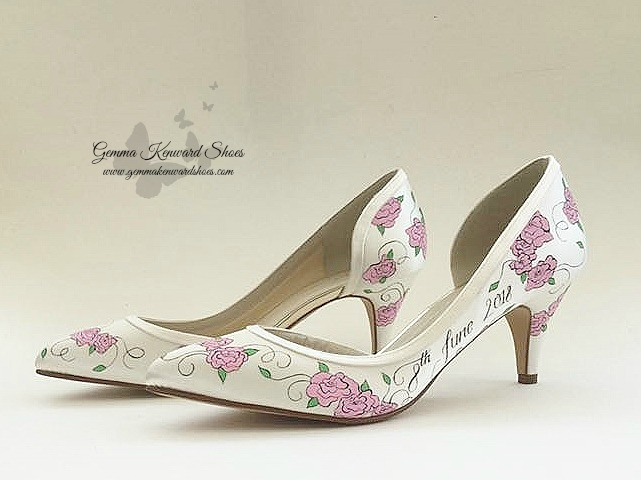 Hand painted pink rose flower wedding shoes.jpg