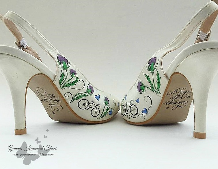 Hand painted thistle and bike wedding shoes.jpg