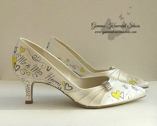 Hand painted yellow wedding shoes with hearts.jpg