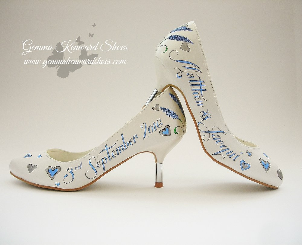 Light blue hand painted brides shoes.JPG