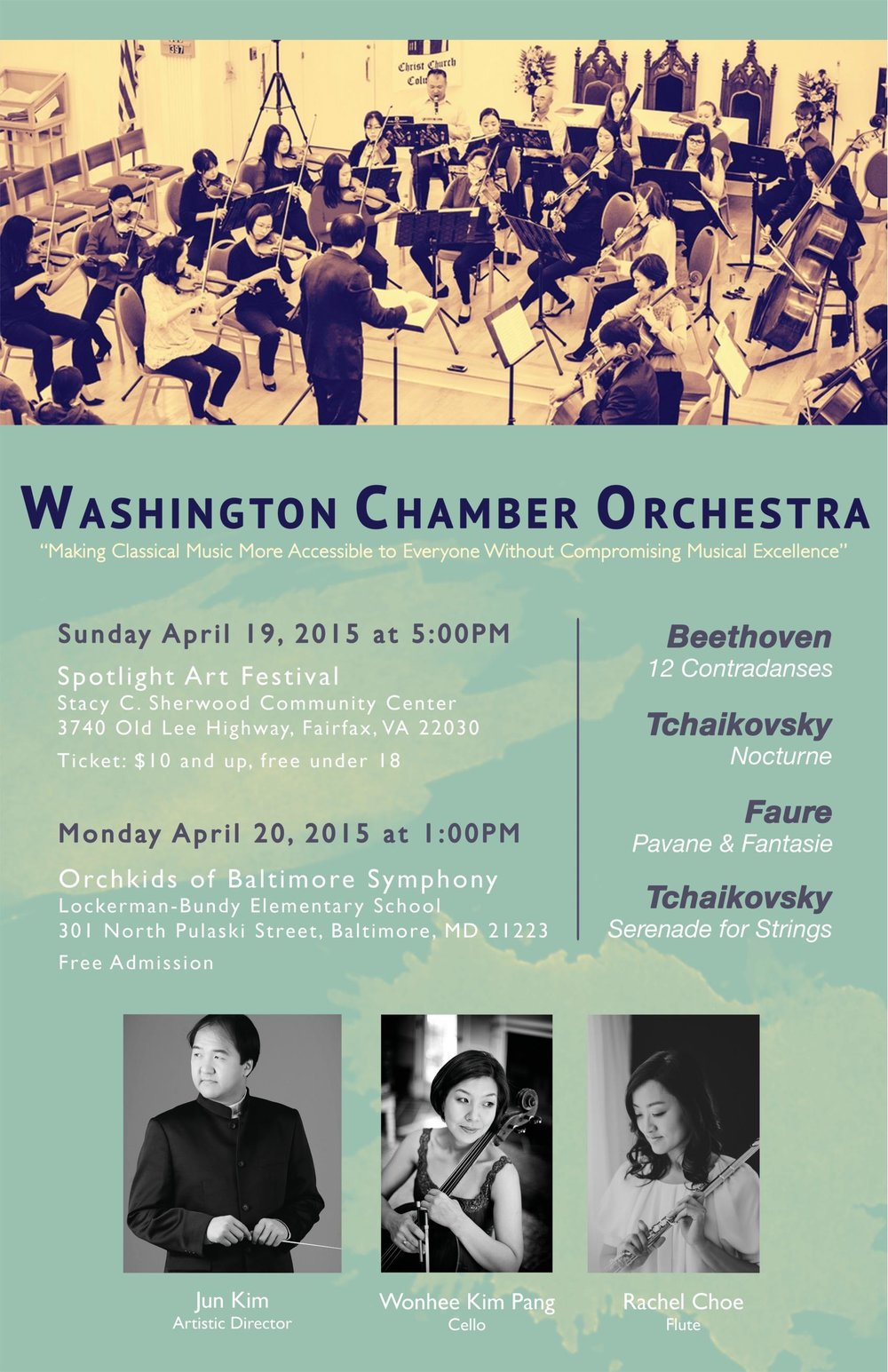 - Choe played as the soloist on Faure Fantasie with the WCO at the Fairfax Spotlight on the Arts Festival on Sunday April 19, 2015. The concert was held in the Stacey C. Sherwood Community Center of Fairfax VA, and at their first outreach concert in the Orchkids program of the Baltimore Symphony. The concert was held in the Lockerman Bundy Elementary School of West Baltimore on Monday April 20, 2015.