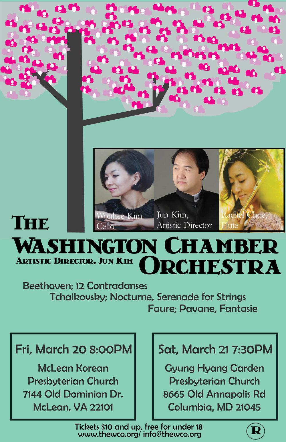 - Choe performed Faure Fantasie with the Washington Chamber Orchestra. The program also includes Beethoven 12 contradanses, Tchaikovsky Nocturne, Serenade for strings and Faure's Pavane. The concerts were held at McLean Presbyterian Church on Friday March 20, 2015 at 8pm and at Garden Presbyterian Church on Saturday March 21, 2015 at 7:30pm.