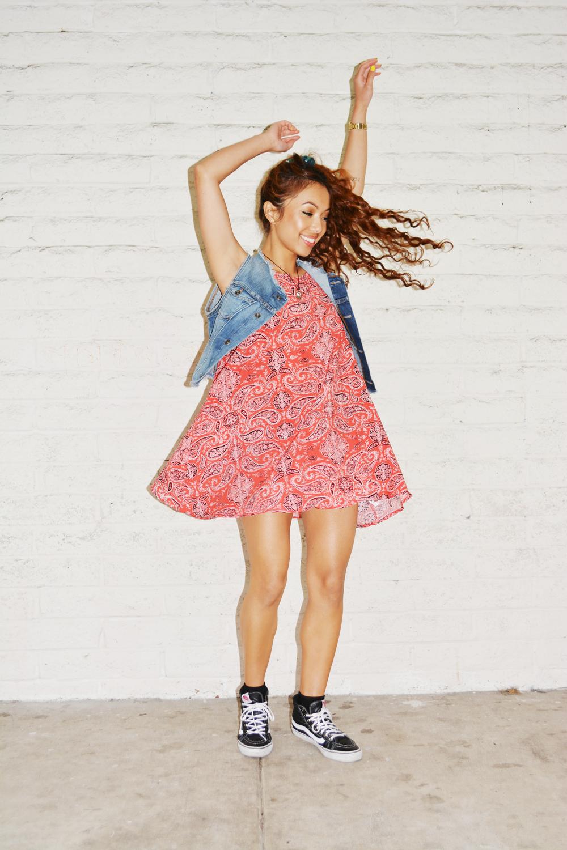 Dress: Vans Paisley Marie Dress// Shoes: Vans Leather Sk8 Hi Slims// Vest: Vans Jaymee Denim Vest