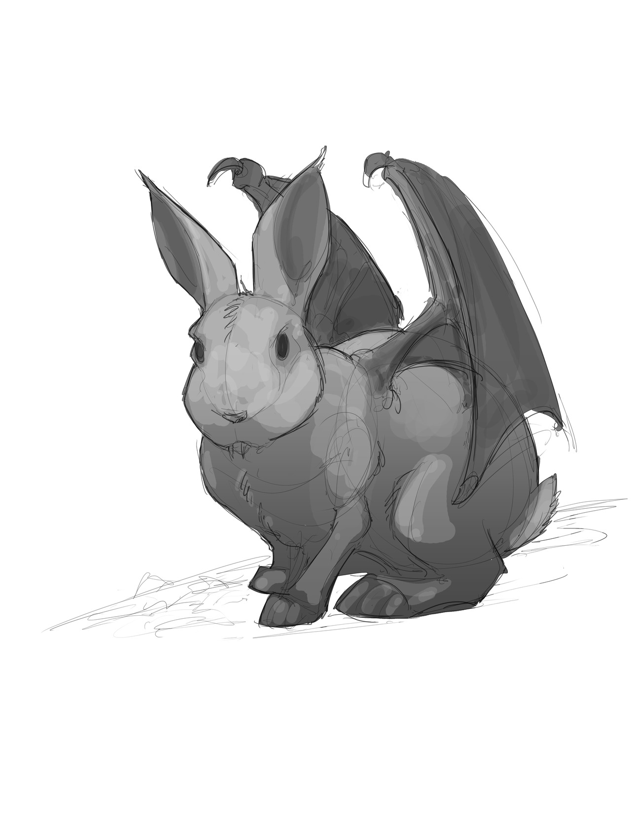 Flying vampire bunny familiars anyone?   Go get your copy today!   Layout sketch of just one of the many creatures in the new book!