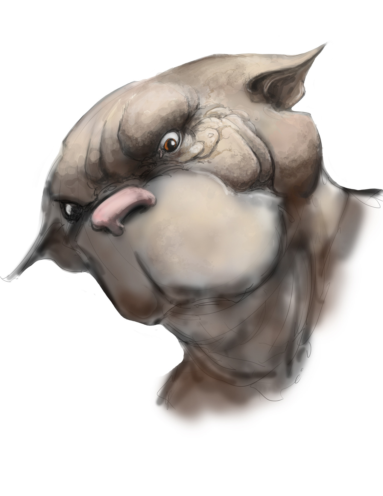 DOG W.I.P.   Here is a little sketch that I didn't quite get finished.   Go check out him and others in our new bestiary coming out.