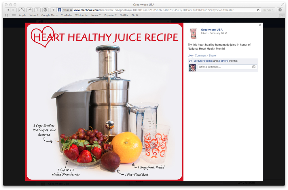 Heart Healthy Month - Juice Recipe Facebook Post (click to enlarge post image)