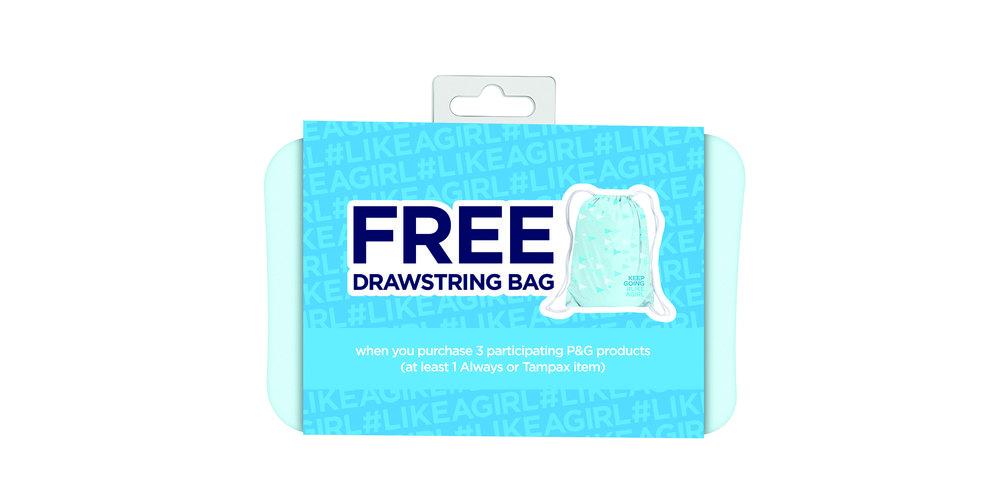 Drawstring Backpack in Packaging