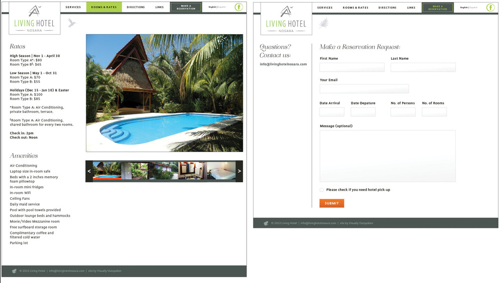 Left: description of rooms. Right: reservation form.