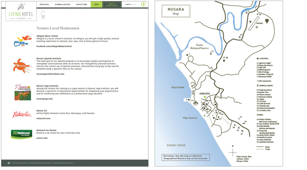 Left: list of local partnered businesses. Right: recreation of local map with the hotel on it.