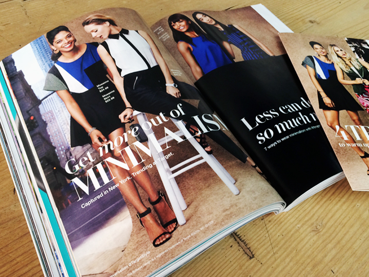 "Spring 2014, Target Style's campaign released four distinct clothing trends each inspired from a different city in the US. Shown above is the double-page spread for ""Minimalism"" a trend from New York City. The direct mail piece is on the right side and also shown in detail below. Spring Studios, NYC"