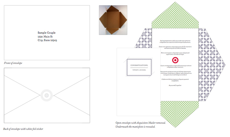 The acquisition mailer envelope utilized some of the pattern and was a beautiful way of packaging the registry catalog.