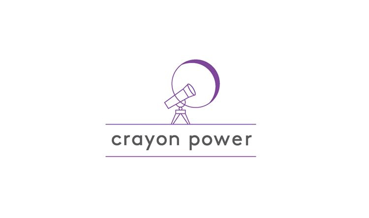 The owner of Crayon Power is an educator for children with learning disabilities. Her teaching philosophy is that children should learn through exploration. The logo depicts a telescope looking up to the boundless sky.