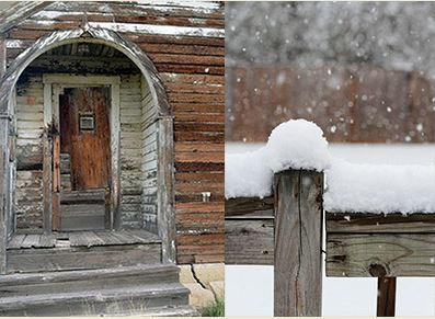 Schoolhouse doors and snow