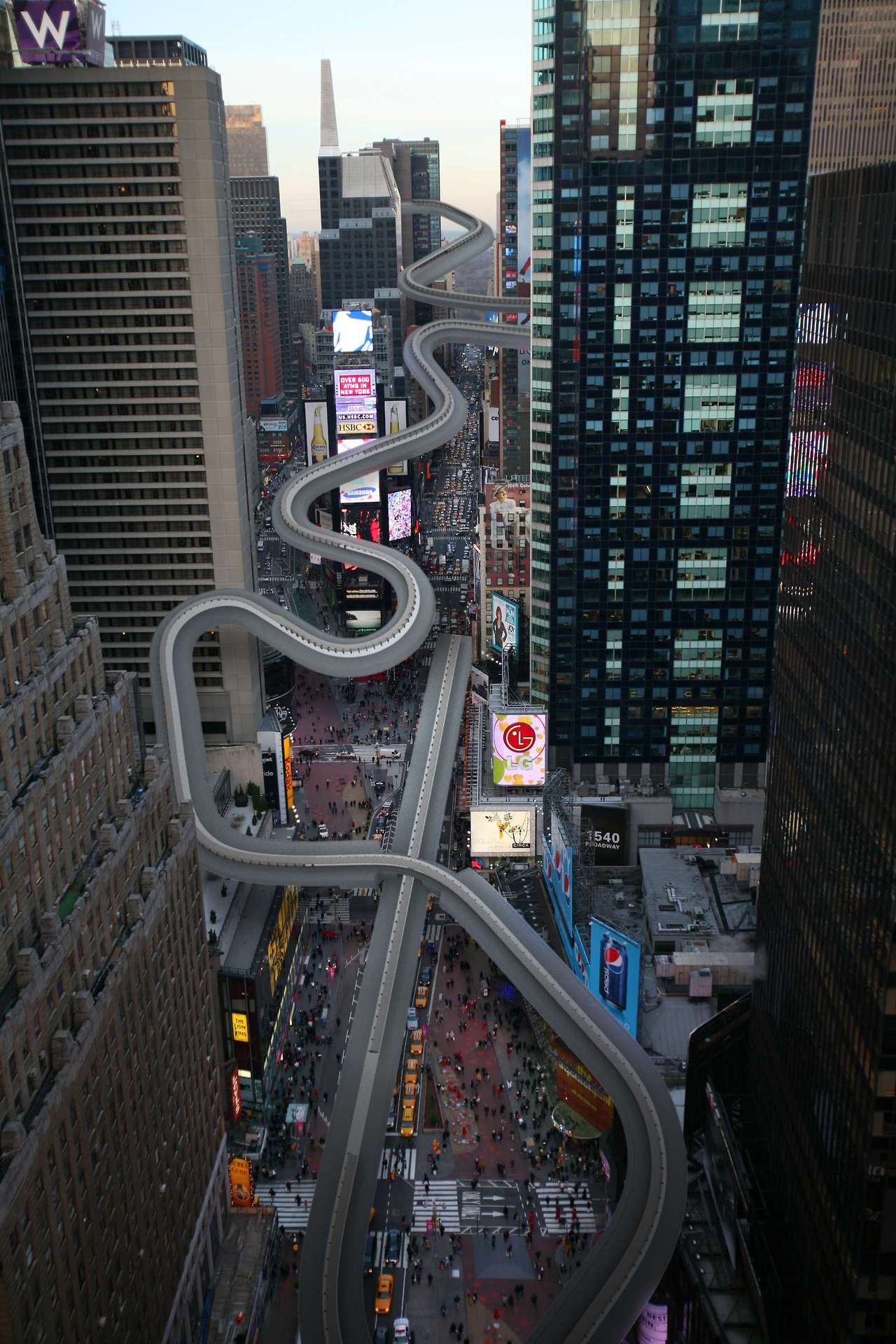 This is what a luge running through Times Square looks like. See the rest of the what-could-have-been-if-NYC-hosted-the-winter-olympics renderings here.