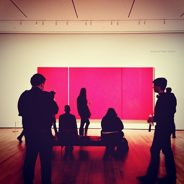 It's freezing in NYC. My favorite thing to do on a cold Saturday is to walk through a snowy Central Park and duck into the warm MoMA. I took this photo when I went this past weekend with my friend Colleen. I realized the myth about New Yorkers wearing only black was kind of true when I noticed everyone's dark clothing silhouetted against this Barnett Newman red painting (photo above).