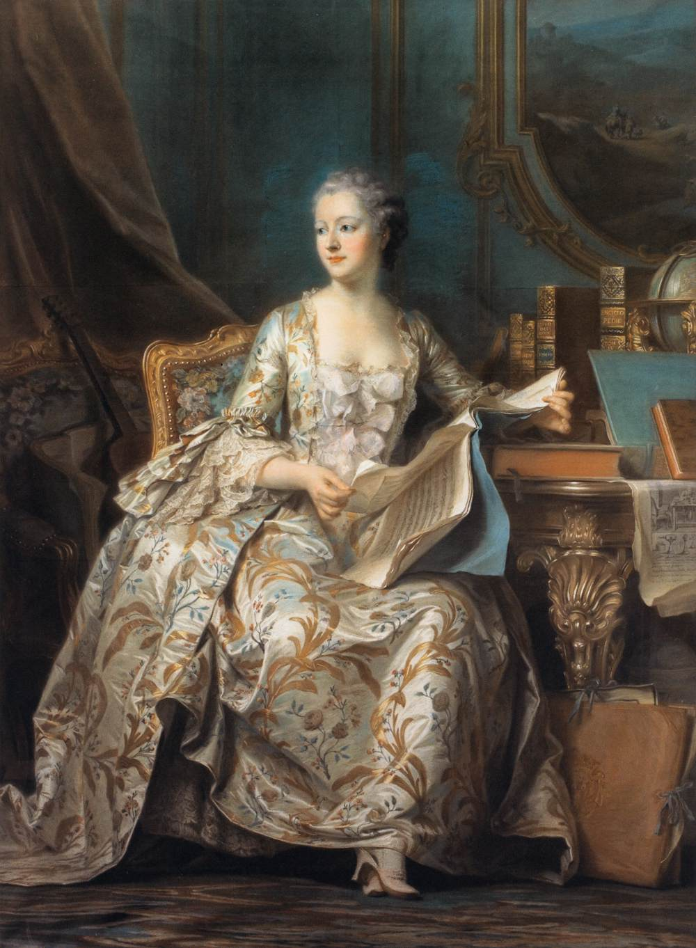 Madame de Pompadour, the queen without a crown, in a pastel by Maurice Quentin de la Tour (1755).
