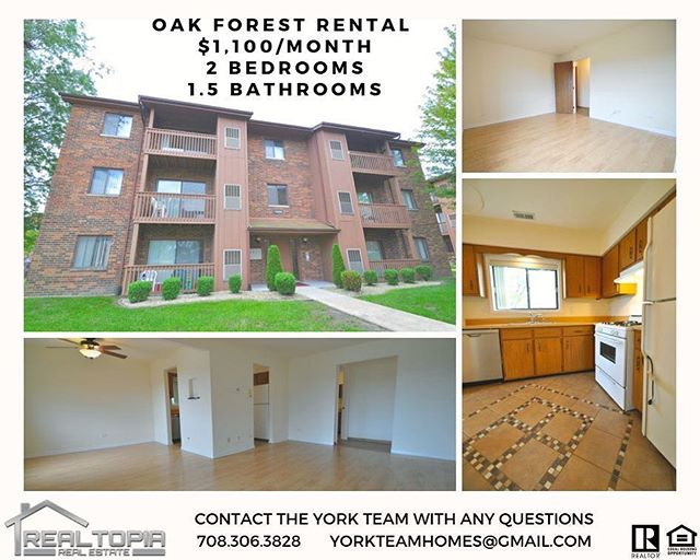 ✨ New Rental in Oak Forest ✨$1,100/month✨ . . #realestate #rent #rental #realtor #yorkteamhomes #oakforest #buy #sell #sold #agent #client