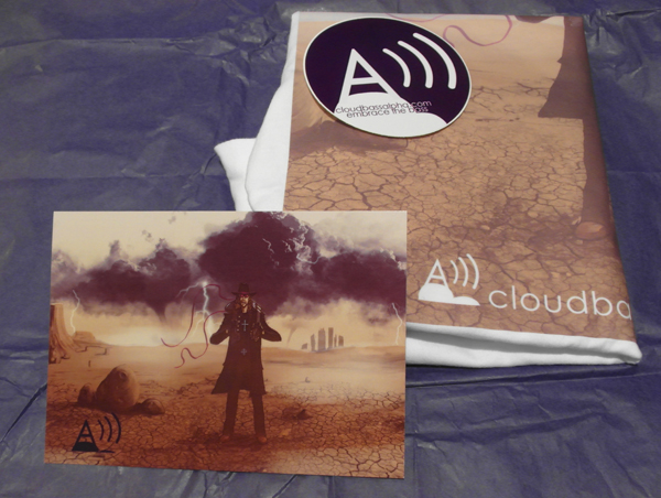 The limited edition Soldier of Fortune T-shirt with limited edition artwork and sticker in Cloud Bass Alpha signature purple packing.