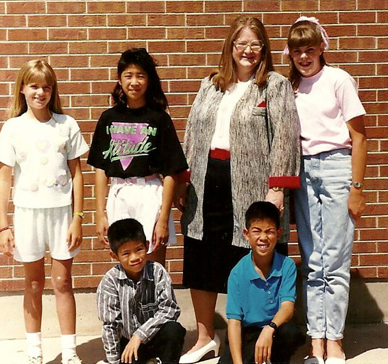"With Ms. Johnson and some of the members of ""Strings 'R Us"". That's me on the right with the rolled jeans."