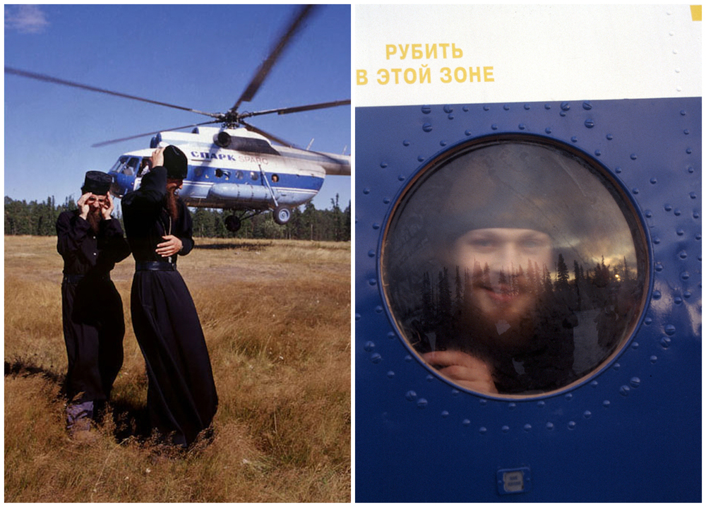 Monks awaiting the arrival of a helicopter from St. Petersburg, carrying supplies for the remote island monastery.