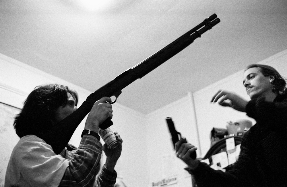 Jefferson 'Scrappy' Haile showing off his gun collection at his 33rd birthday. Part of  a series on guns in America.