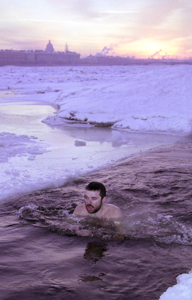Andrei Kuzmin braving the icy waters of the Neva River in mid-January. Published in The St. Petersburg Times.