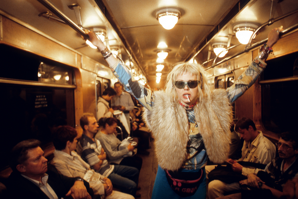 Oksana Belayeva riding the metro to an all-night rave party. Part of a feature about Moscow nightlife for Maxim magazine.