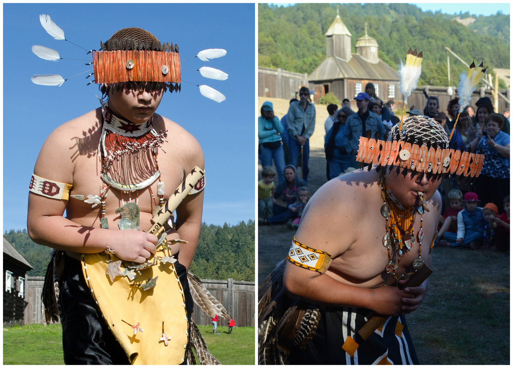 Members of the Kashaya Pomo tribe perform traditional dances at Fort Ross, California.