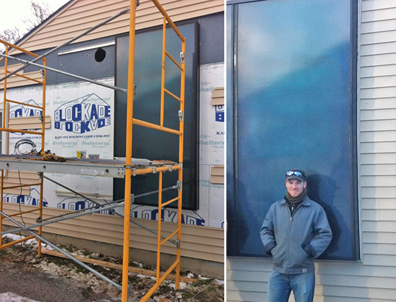 Installation of solar furnace in progress (left) and Solar Heat Outreach Specialist Theodore Westhues in front of completed installation.