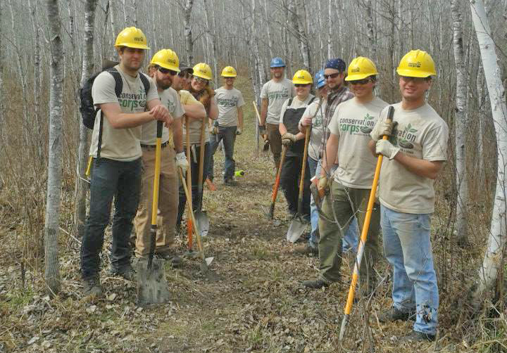 Photo: The Grand Rapids and Tower field crews on the North Country Trail in May.