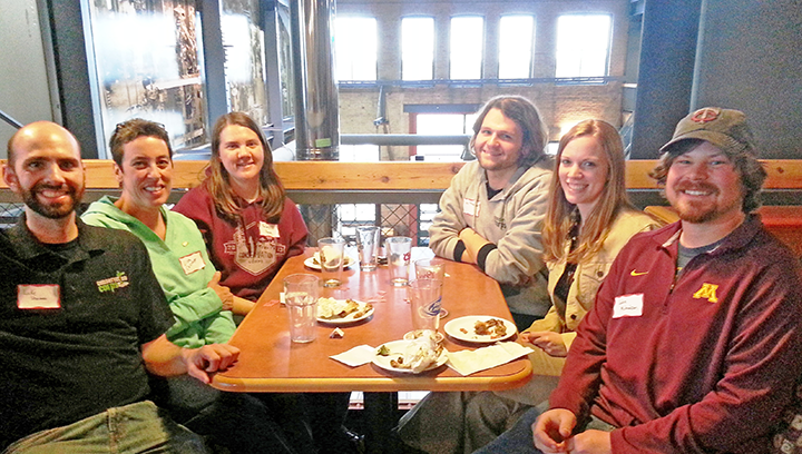 Photo: Luke Sharman, Lisa Cassioppi, Becky Haug, Jay Meager, Cherylyn Bohannon and Jake Mickelson enjoyed the company of alumni and friends at Clyde Iron Works in Duluth.