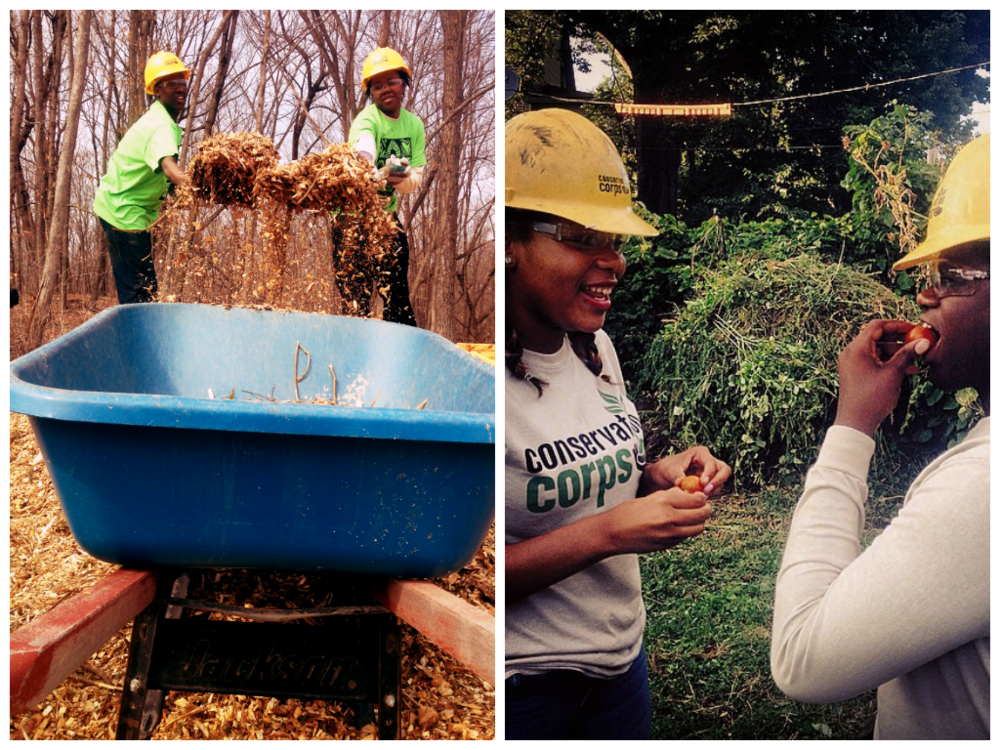 (L) Mulching trail for spring's Global Youth Service Day and (R) a day at Youth Farm & Market.