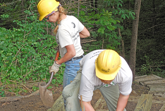 Corps members Teal Frederick and Tyler Knight built new steps at Hagge Park in Sac County in Iowa.