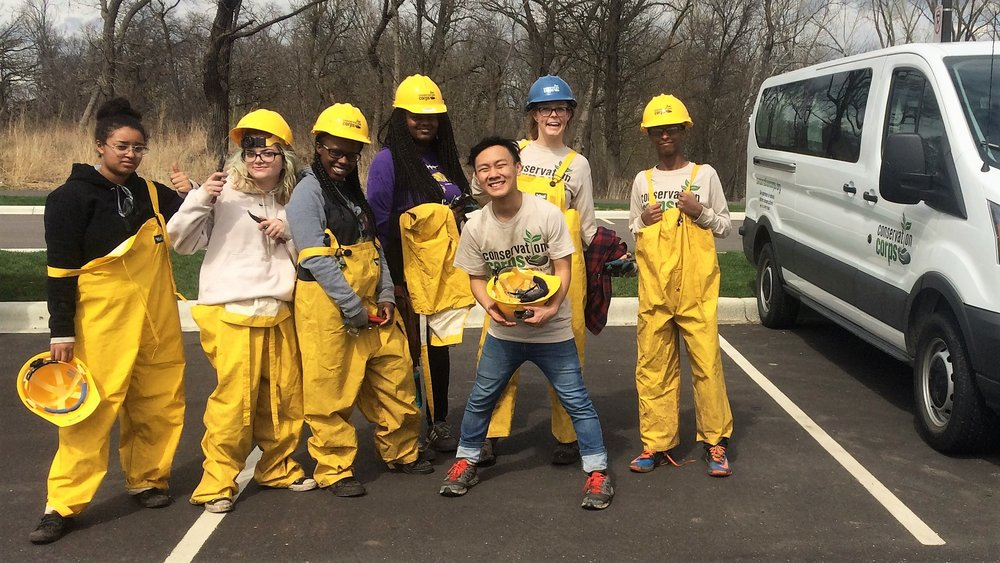 Pictured: The El Rio Youth Crew after a field day spent clipping Corydalis incisa April 15, 2017 | Como Park, Saint Paul, MN