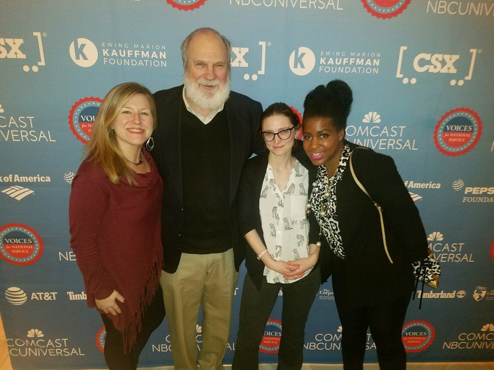 MINNESOTANS UNITE: Northern Bedrock Historic Preservation Corps staff members Rolf Hagberg and Rhea Harvey (center) meet up with Conservation Corps Minnesota & Iowa staff Melissa Cuff (left) and Garnetta Lowman (right) at the Voices for National Service Awards.